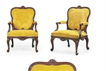 A PAIR OF GEORGE II SABICU AND LIME OPEN ARMCHAIRS