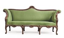 A GEORGE II SABICU AND LIME SOFA