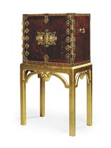 A JAPANESE GILT-LACQUERED-BRASS MOUNTED PINE AND PARQUETRY C