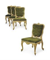 A SET OF FOUR GEORGE II GILTWOOD SIDE CHAIRS