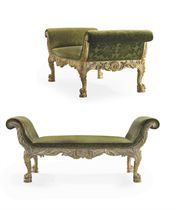 A PAIR OF GEORGE II GILTWOOD STOOLS