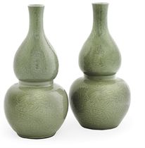 A PAIR OF LARGE CHINESE CELADON-GLAZED DOUBLE-GOURD VASES