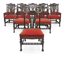 A SET OF TWELVE GEORGE II MAHOGANY DINING CHAIRS