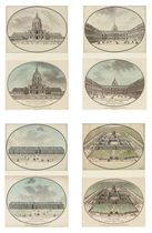 Views of the Hôtel des Invalides, Paris, each drawing associated with its related print by Jean-Francçois Janinet (1752-1824)