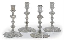 TWO PAIRS OF GEORGE II SILVER CANDLESTICKS
