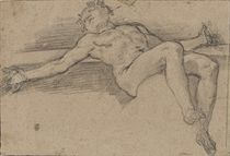 A reclining male nude with outspread arms