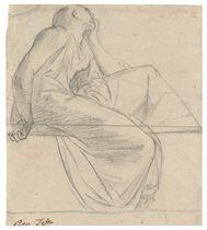 A seated figure in profile