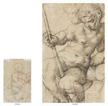 Mars enthroned, wearing a plumed helmet and holding a spear (recto); A male nude playing a viola da gamba (verso)