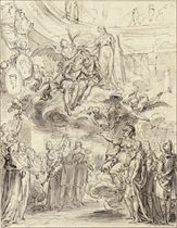 King Louis XIV and the Dauphin crowned by Glory and Immortality, and acclaimed from below by the Sciences, the Arts and the French People led by Minerva
