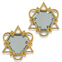 A PAIR OF FRENCH BRONZE AND ORMOLU-FRAMED TRIANGULAR WALL MIRRORS
