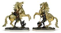 A PAIR OF FRENCH BRONZE MARLY HORSES