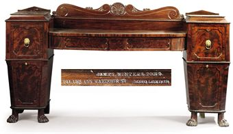 A WILLIAM IV MAHOGANY PEDESTAL SIDEBOARD