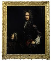 Portrait of William Keith, 8th Earl Marischal (c. 1664-1712), three-quarter-length, in a purple coat, a white stock and a brown mantle with gold trim, holding a baton and leaning on a plinth