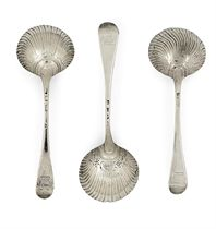 TWO SETS OF THREE GEORGE II SILVER SAUCE-LADLES