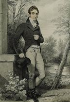 Portrait of William Henry, 3rd Baron Lyttelton (1782-1830), full-length, in a landscape