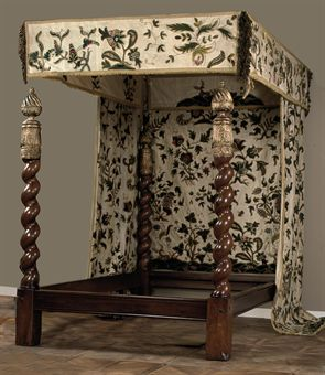 A four poster bed with crewelwork canopy and curtains the bedposts 18th century and later the - Four poster bed curtains ...