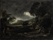 Landscape with figures seeking shelter from the stormy weather