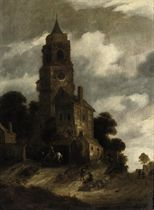 A landscape with figures resting in front of a church