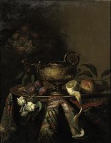 Plums, a lemon and a peach on a gold plate, all on a table draped with an embroidered cloth, together with two gold objects