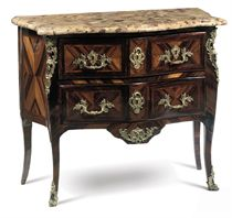 A LOUIS XV ORMOLU-MOUNTED TULIPWOOD AND COROMANDEL COMMODE