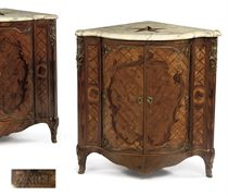 A pair of Louis XV ormulu-mounted rosewood, tulipwood, bois satiné, amaranth, marquetry and parquetry encoignures