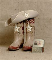 TEXAS STAR BOOTS, HAT AND PICTURE BUCKLE