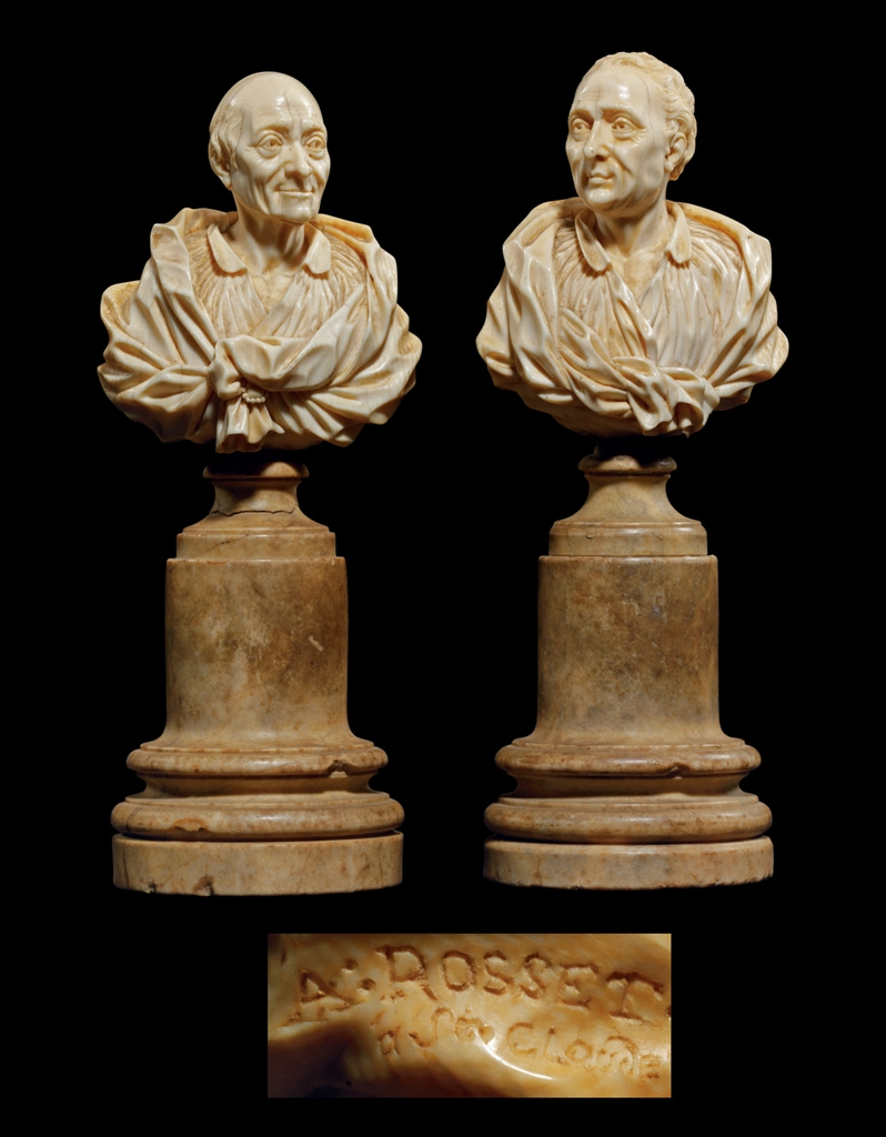 A Pair Of Carved Ivory Busts Of Voltaire And Montesquieu