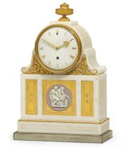 A GEORGE III ORMOLU AND JASPERWARE-MOUNTED WHITE MARBLE TIMEPIECE MANTEL CLOCK
