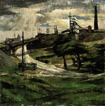 Landscape with power stations
