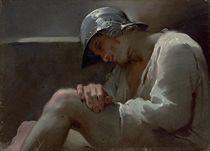 A sleeping legionary in a helmet