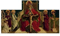 The Holy Trinity, with the Virgin and Saint John the Evangelist, Saints Stephen and Lawrence, and a kneeling donor - panel from an altarpiece