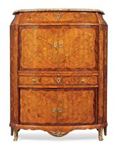 A LOUIS XV TULIPWOOD, KINGWOOD, FRUITWOOD, GREEN-STAINED AND MARQUETRY SECRETAIRE