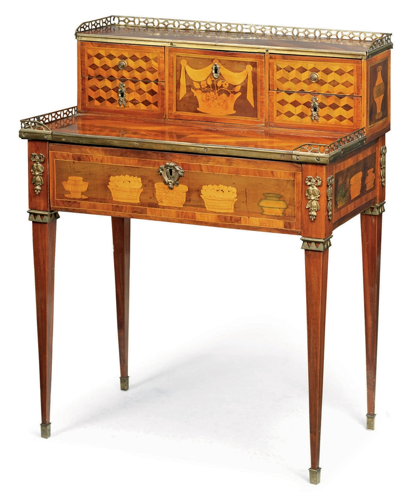a louis xvi tulipwood bois satine and kingwood marquetry. Black Bedroom Furniture Sets. Home Design Ideas