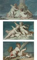 Putti sitting by a column; Putti sitting on a cloud, holding a harp and a scroll; and Putti squabbling, one of them holding a tambourine