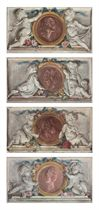 Four portrait medallions flanked by putti