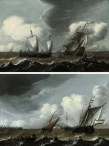 A Dutch schooner, a man-o'-war, and a fishing boat in stormy seas; and Dutch schooners and a landing skiff approaching the harbour