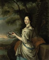 Portrait of a lady, three-quarter-length, in a lace-trimmed gray and blue dress, a wreath of flowers in her right hand, in a landscape