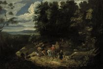 A hunting party in a wooded landscape