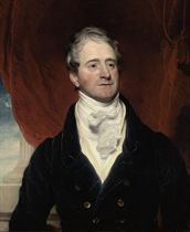 Portrait of George Watson Taylor (1770-1841), M.P., half-length, in a blue coat with a cream waistcoat and white stock