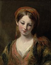 Portrait of a young girl, thought to be Henrietta Carpenter, bust length, in oriental dress