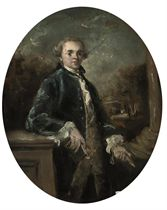 Portrait of a gentleman, three-quarter length, in a blue coat, a book in his right hand, in a landscape