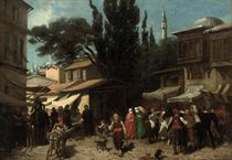 A bustling Arab market