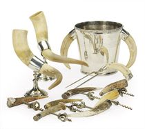A GROUP OF BOAR TUSK, HORN AND SILVER PLATE-MOUNTED DRINKING WARES,