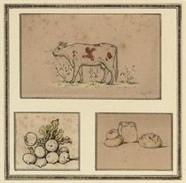 Tailpiece to Kate Greenaway's Under the Window (illustrated); and Study of a house and chickens