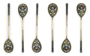 A SET OF SIX RUSSIAN SILVER-GILT AND CLOISONNE ENAMEL LEMON TEA SPOONS