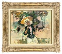 Young girl with a yellow parasol