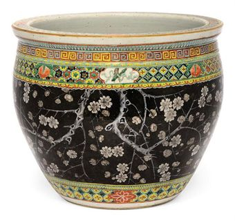 A chinese famille noir fish bowl 19th century flowers for Chinese fish bowl