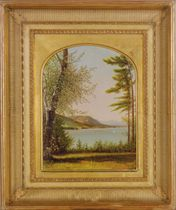 View of Lake George through the forest clearing