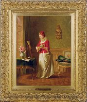 An elegant lady practising music in an interior