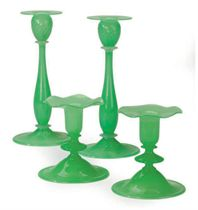 TWO PAIRS OF AMERICAN 'JADE' GREEN GLASS CANDLESTICKS,